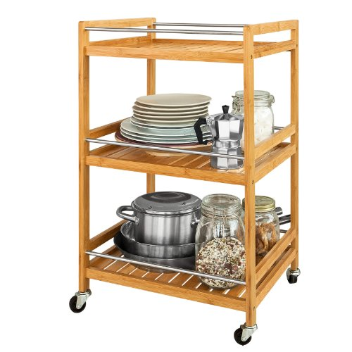 SoBuy Servierwagen, Küchenwagen, Rollwagen aus Bambus FKW11-N