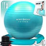 Ballon de Gym ou Swiss Ball de Mind Body Future. Gym Swiss Ball pour Pilates, Yoga, Grossesse, Fitness. Robuste, Antidérapant, Hypoallergénique - 75 cm. Livré avec Base et Pompe. Turquoise