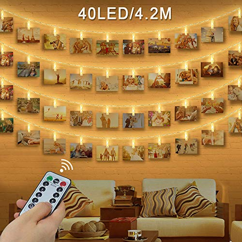 LED Foto Clip Stringa Illuminazione , otumixx 40 Foto Clips Luci di Stringa con Telecomando 4,2M...