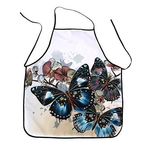 BESTONZON Delantal de Cocina Impermeable Delantal de Cocina Estampado Elegante Diseño de Mariposa y Flores para Mujer