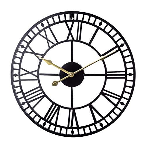 YOU339 40cm Orologio da Parete Cavo in Ferro, Orologio da Parete Silenzioso con Numeri Romani, Orologio da Appendere per la Decorazione Domestica