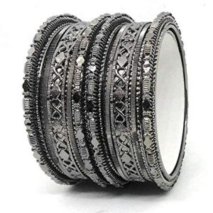 Sai Black Colour oxidised Antique Metal Casual wear Bangles Bracelets Set Traditional Zircon Jewellery Sets for Women and Girls. 3