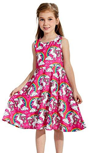 Funnycokid Niña Vestidos Verano Impreso Chicas Casual Patinador Vestir