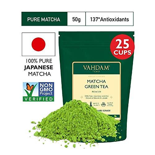 VAHDAM, Matcha Grüner Tee | 100{bef637a0f358a9edcdc980728e026f8bf66d11e35c78d85858aa44842edd40f5} REINE japanische Herkunft Matcha Tee Pulver | 137x ANTI-OXIDANTEN | Energie-, Fokus- & Stoffwechsel-Booster | Grüner Tee für Gewichtsverlust | Japans SUPER FOOD | 50g