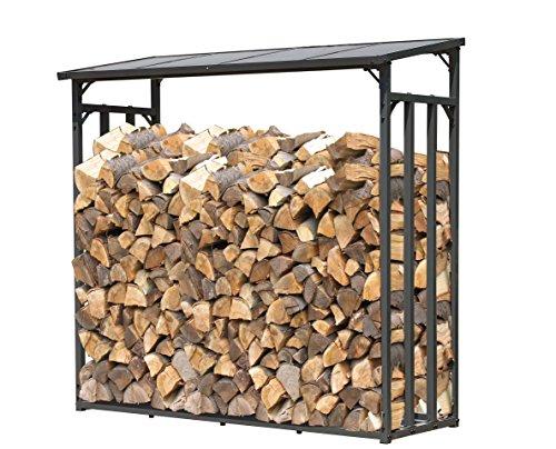 QUICK STAR Metall Kaminholzregal Anthrazit 143 x 70 x 145 cm Garten Kaminholzunterstand 1,4 m³ Kaminholzlager Stapelhilfe Aussen