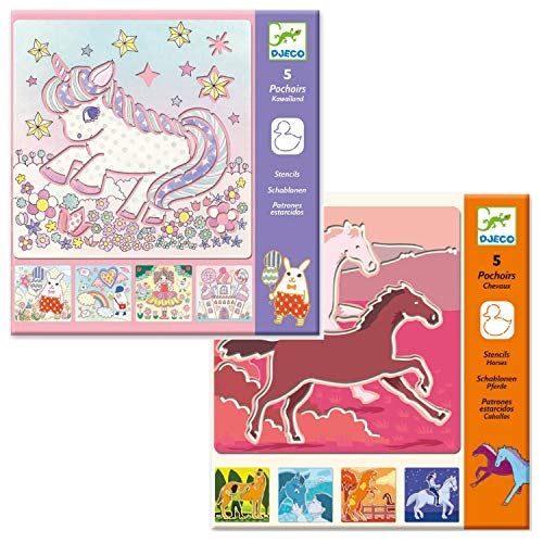 Djeco - Set creativo di stencil per dipingere e disegnare a forma di unicorno, ideale come regalo...
