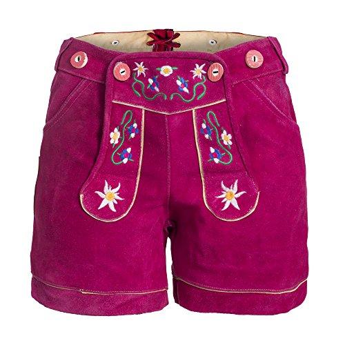 Damen Trachten Lederhose m. Trägern Pink Größe 38