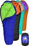 Hyke & Byke Eolus Saco de Dormir Momia con 800 Plumas de Ganso Desde -10 & -15 Grados C: Saco de Dormir Ultraligero para Mochilero (-15 Grados C (Azul /Verde Lima), Regular)
