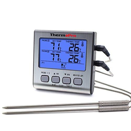 ThermoPro Termometro da cucina a cottura digitale con doppia sonda a carne Forno con timer per...