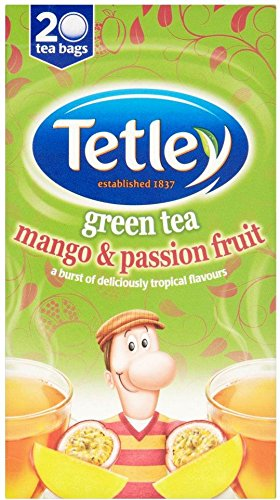 Tetley green tea bundle (rainforest alliance) (green tea) (2 packs of 20 bags) (40 bags) (a fruity tea with aromas of mango, passionfruit) (brews in 1-3 minutes)