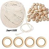 Corde en macramé, corde en macramé naturelle Corde en coton doux bohème avec 4pcs anneaux en bois 50pcs perles pour accrocher au mur, cintre pour plantes pour Hanging Plant DIY Décoration(3mm x 100m)