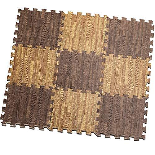HemingWeigh Stampato il grano di legno ad incastro schiuma Tappetini Anti fatica Puzzle – rende A...