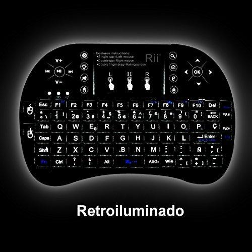 514v48xOdTL - (Actualizado, Retroiluminado) Rii i8+ Mini teclado inalámbrico 2.4Ghz con touchpad integrado, retroiluminación Led y batería recargable de Litio-IO
