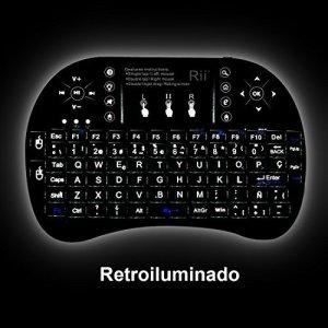 514v48xOdTL - (Actualizado, Retroiluminado) Rii i8+ Mini teclado inalámbrico 2.4Ghz con touchpad integrado, retroiluminación Led y batería recargable de Litio-ION de larga duración.
