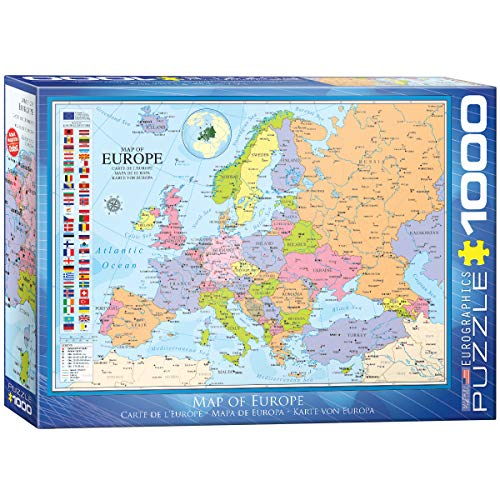 Eurographics 6000-0789 'Map of Europe, Cartina dell'Europa, Puzzle da 1.000 Pezzi