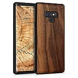 kwmobile Funda de Madera Madera de Nogal para Samsung Galaxy Note 9 - Case Bumper de TPU - Cover Protector Duro en marrón Oscuro