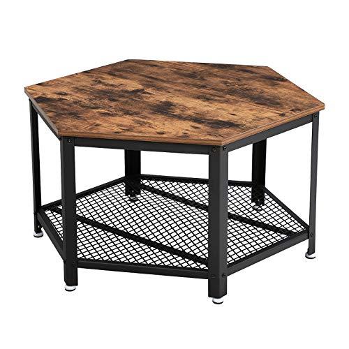 VASAGLE Tavolo da Caffè Vintage, Tavolino da Salotto con Piano d'Appoggio, Struttura in Ferro,...
