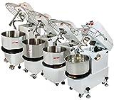 Beeketal 'BTK10' Profi Teigknetmaschine 10l auf Rollen, mit Spiralkneter und rotierender Schüssel (Knethaken 156 U/min, Schüssel 18 U/min), 10l Gesamtvolumen für max. 4 kg Mehl