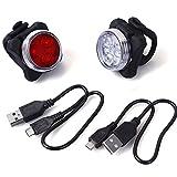 Unigear Luci LED da Bici Set, Faro e Fanale Posteriore USB Ricaricabile per Ciclismo, 4 modalità, 2 Cavi USB Incluso (Luci LED da Bici Set)