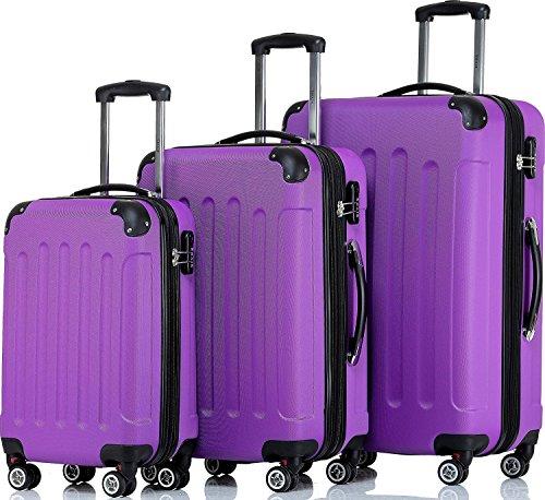 SHAIK® Serie BUTTERFLY, FRA 3 Größen, M | L | XL | Set | 45/78/124 Liter Zahlenschloss (Violett, 3er Set)