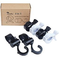 Luchild Ganchos Carrito Bebe & Clip de Cochecito Universal Baby Stroller Hook Clip para Cochecito (2 Gancho Carrito Bebe +4 Clip de Cochecito)