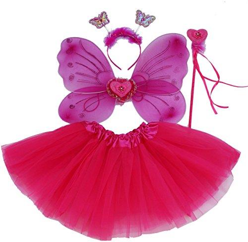 Fun Play Rosa Caliente Hada Disfraz - alas de Mariposa niña por 3-8 años - Hada de la Mariposa alas, Tutu, Varita mágica y Diadema