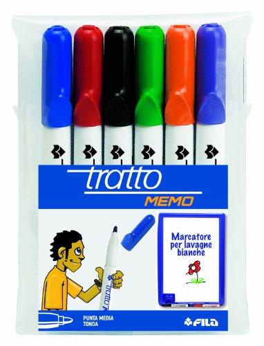 Tratto Memo, marcatore per lavagna punta tonda busta 6 colori