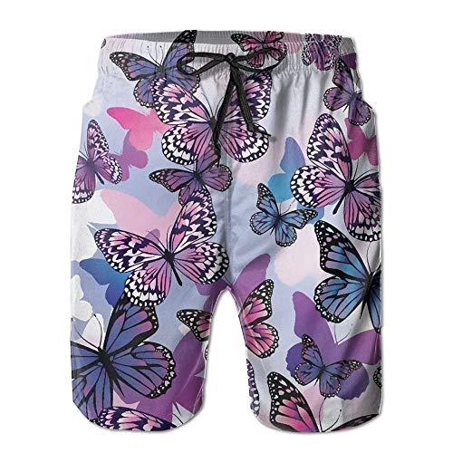 Color Mariposa Suave para Hombres Surf de Verano Trajes de baño Pantalones Cortos de Playa Pantalones de Secado rápido con Bolsillos