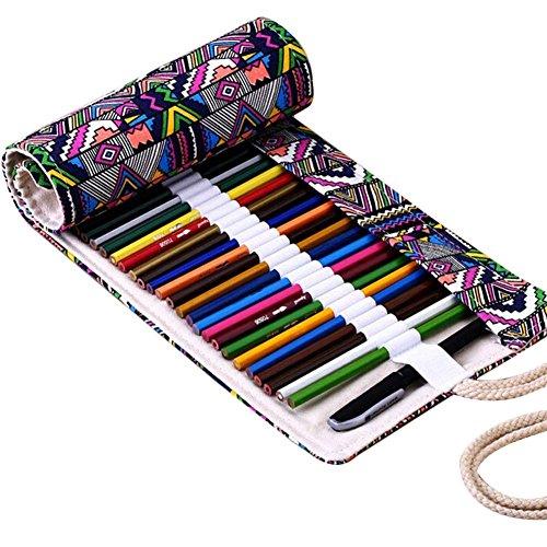 Fablcrew - Astuccio porta-matite arrotolabile in tela, per artisti, scuola e ufficio, 72 Slots,...