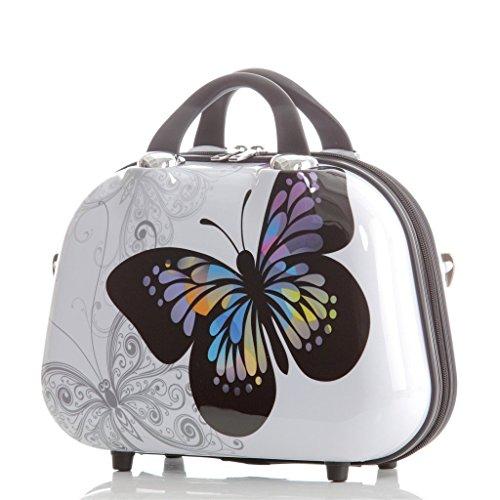 Bauletto rigido per cosmetici 2060, motivo decorativo con farfalle