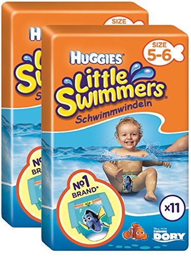 Huggies Little Swimmers Pannolini, Taglia 5-6 (12-18 kg), 2 Pacchi da 11 Pezzi