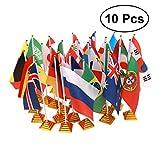 VORCOOL 10pcs 2018 Rusia World Cup Banderas del País Banderas internacionales con Soporte Banderas del Mundo para Escritorio Decoraciones de Mesa