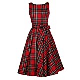 New Style 50s' Fashion Printed Plaid Red Cotton One-piece Dress for Women Party