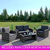 New Algarve Rattan Wicker Weave Garden Furniture Patio INCLUDES RAIN COVER Conservatory Sofa Set (Light Mixed Grey/Dark Cushions)