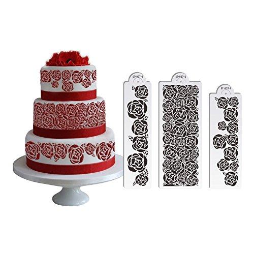 AK Art utensili da cucina 3 pz/set rose cake stencil per fondant ...