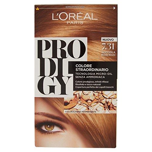 L'Oréal Paris Prodigy Colorazione Permanente senza Ammoniaca, Risultato Colore Naturale, 7.31 Nocciola Biondo Dorato