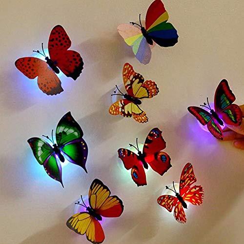 CAOQAO Autoadesivo Staccabile Variopinto della Farfalla di Notte della Luce della Farfalla di DIY,...