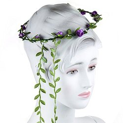 floristikvergleich.de BESTIM INCUK Braut Brautjungfer Hochzeit Blumenstirnband Kopfband BlumenKranz Lila