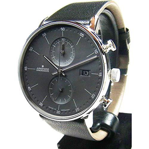 Junghans Form C Herren-Armbanduhr 40mm Armband Leder Schwarz Quarz 041/4876.00