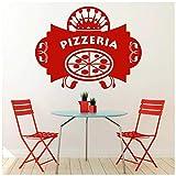 azutura Pizzeria Badge Denominata Segno Italiano Cibo e Bevande Adesivi Murali Cucina Art Decal Disponibile in 5 Dimensioni e 25 Colori Medio Nero