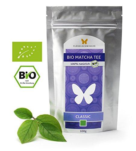 100g Bio-Matcha-Tee CLASSIC von FLÜGELSCHWINGER, CN-BIO-140, 100{bef637a0f358a9edcdc980728e026f8bf66d11e35c78d85858aa44842edd40f5} Matcha ohne Zusätze, nach traditioneller Art in Steinmühlen gemahlen, Matcha, Pulver (100g)