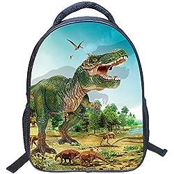 """JIAN YA NA Chicos Bolsa 3D Animales Dinosaurio Fresco del Estampado de la Lona del morral del Hombro Bolsa de Libros de niños 14"""" (Dinosaur 6)"""