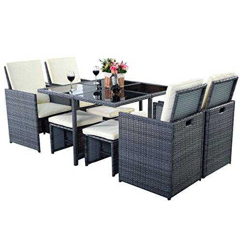 Garden Rattan Furniture Sets Costway 9pc garden rattan furniture set outdoor patio dining table costway 9pc garden rattan furniture set outdoor patio workwithnaturefo