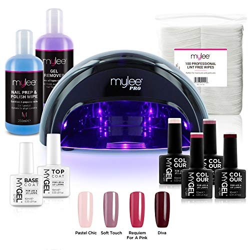 Kit Semipermanente Unghie Professionale Completo, 4x MyGEL Colors, Top & Base Coat, Lampada LED...