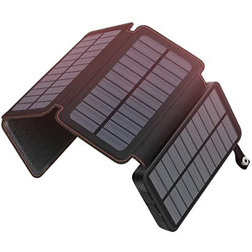 Hiluckey Caricatore Solare Esterna Impermeabile e antineve Power Bank 25000mAh con 4Pannelli...