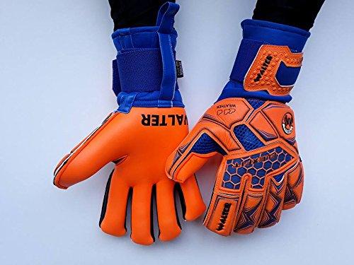 walter guanti da portiere modello sweet con stecche estraibili (azzurro-arancio, 10)