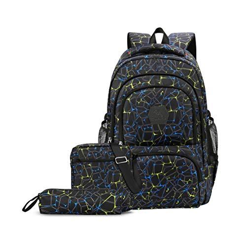 CUIBIRD Schulrucksack Jungen Schultasche Jugendliche Nylon Rucksäcke Schule Wasserfest Backpack Laptop Rucksack 15.6 Zoll Schulranzen 3 Teile Set (Schwarz)