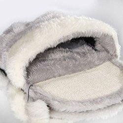 katzeninfo24.de Katzen Schlafhöhle Schlafsack Höhle Spielzeug Bett 55cm grau-weiss