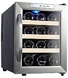 Kalamera KR-12ASS Edelstahl Weinkuehlschrank 33 Liter 12 Flasche Weinklimakuehschrank Minibar Freistehend Temperaturzonen 8-18