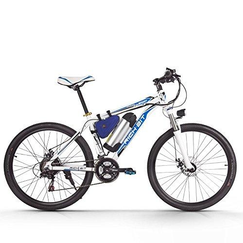 Richbit-Cycliste-Vlo-lectrique-250-W-Moteur-haute-performance-batterie-lithium-ion-Aluminium-Cadre-de-montagne-de-vlo-Cross-Country-pour-Unisexe-Blancbleu
